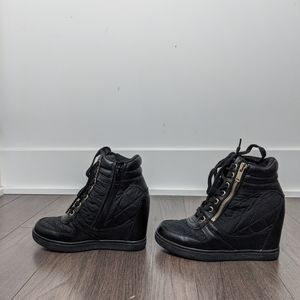 ALDO Black Quilted Wedge Booties
